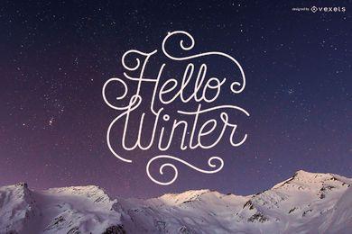 Hola diseño de letras de invierno