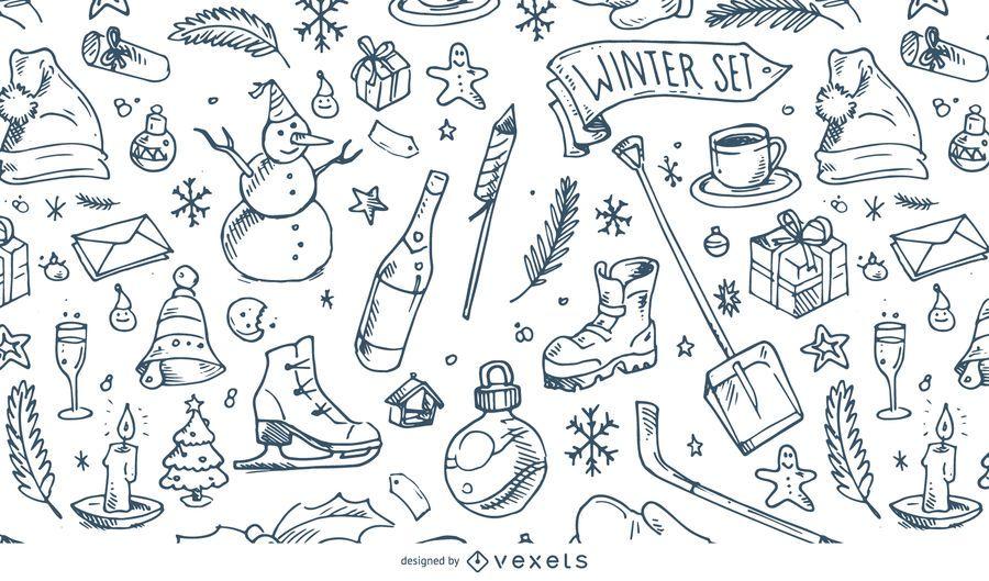 Ilustración de patrón de invierno