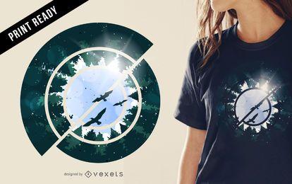 Ilustração abstrata do projeto da t-shirt da floresta