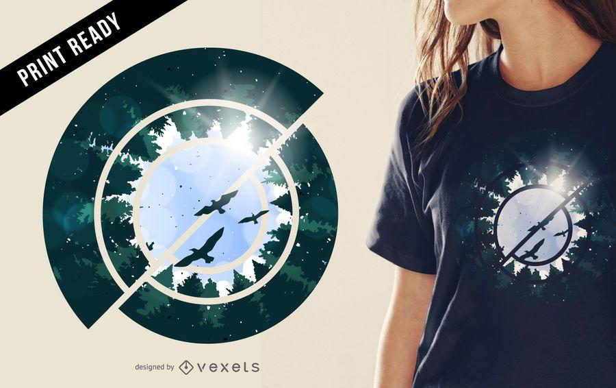 Ilustración de diseño de camiseta de bosque abstracto