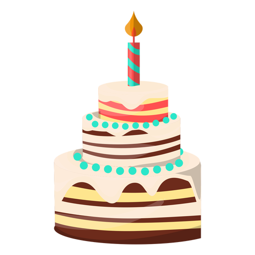 Three floors birthday cake illustration Transparent PNG SVG vector