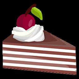Fatia de bolo triângulo com cereja