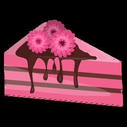 Fatia de bolo triangular com flores