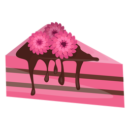Triangle cake slice with flowers