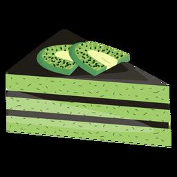 Fatia de bolo triangular com kiwi