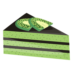 Triangle cake slice with kiwi