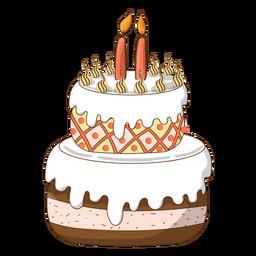 Dibujos animados de pastel de cumpleaños dos velas