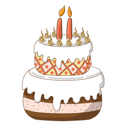 Two candles birthday cake cartoon