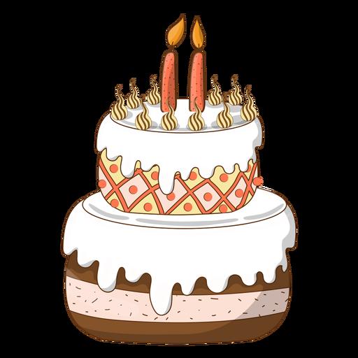Dibujos Animados De Pastel De Cumpleaños Dos Velas Descargar Png
