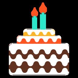 Ícone do bolo de aniversário de duas velas