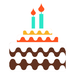 Dos velas icono de pastel de cumpleaños