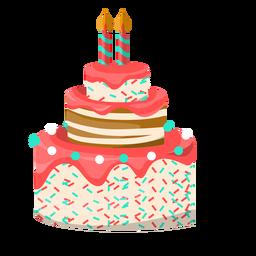 Ilustración de pastel de cumpleaños dos velas