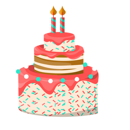 Two candles birthday cake illustration