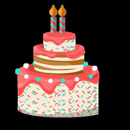 Ilustración de pastel de cumpleaños de dos velas Transparent PNG