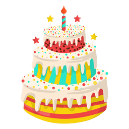 Ilustração do bolo de aniversário de baunilha