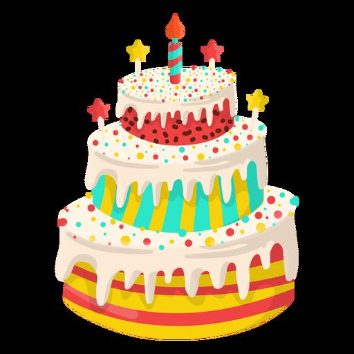 Ilustración de pastel de cumpleaños de vainilla Transparent PNG
