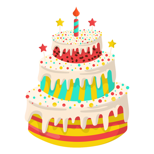 Vanilla birthday cake illustration Transparent PNG