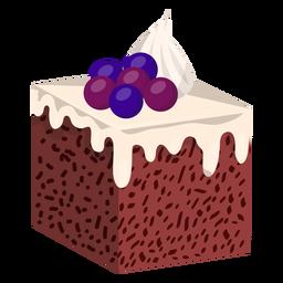 Vanilla cake slice with blueberries