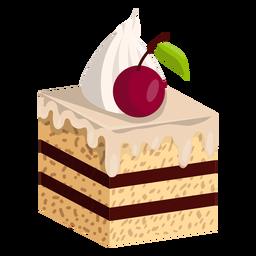 Fatia de bolo de baunilha com cereja
