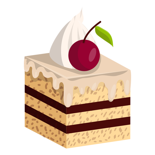 Vanilla cake slice with cherry Transparent PNG