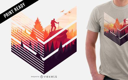 Bunter wandernder T-Shirt Entwurf