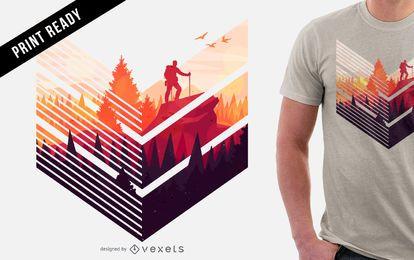 Diseño colorido de camiseta de senderismo