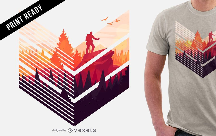 Colorful hiking t-shirt design