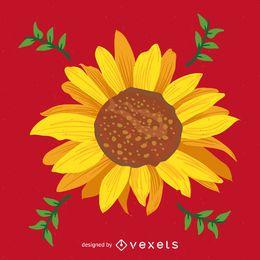Ilustración brillante girasol