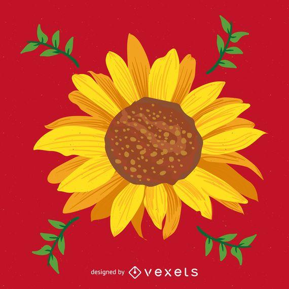 Bright sunflower illustration