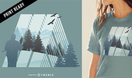 Diseño de camiseta de camping en la naturaleza.