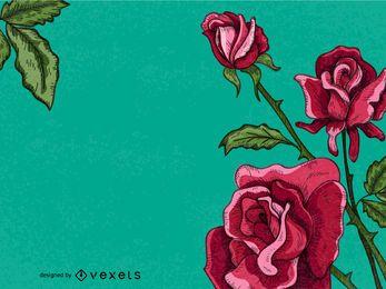 Quadro de rosas desenhadas à mão