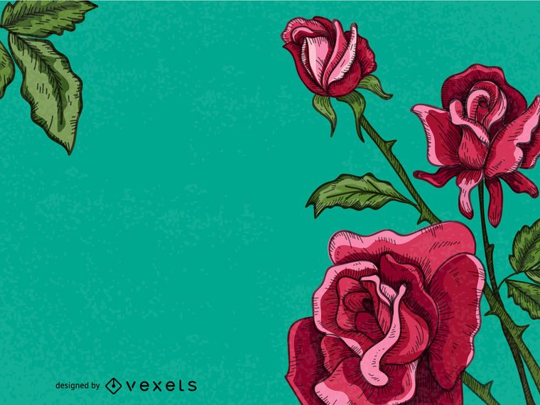 Quadro de mão desenhada rosas