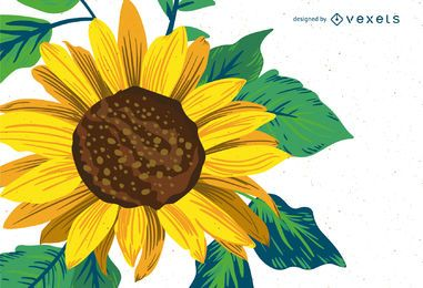 Bright sunflower drawing