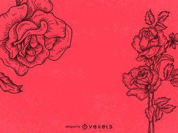 Ilustração da arte da linha de rosas