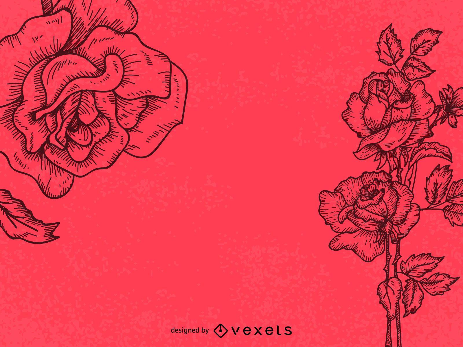 Ilustración de arte de línea de rosas