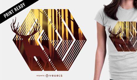 Diseño de camiseta de ilustración de ciervo.