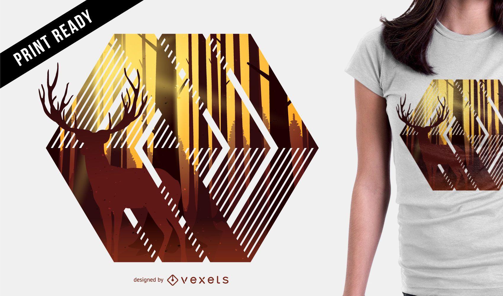 Deer illustration t-shirt design