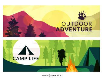 Camping conjunto de ilustraciones