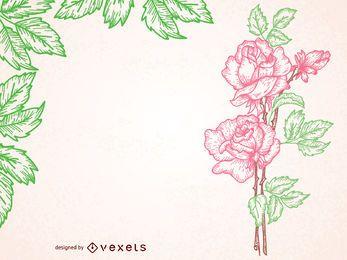 Quadro ilustrado rosa vintage