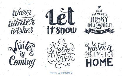 Conjunto de diseños de letras de invierno.