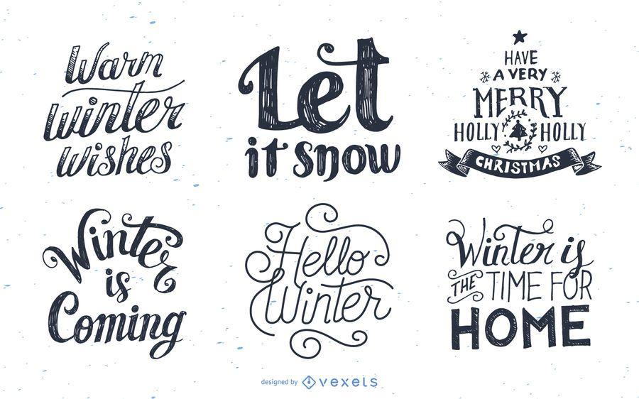Set of winter lettering designs
