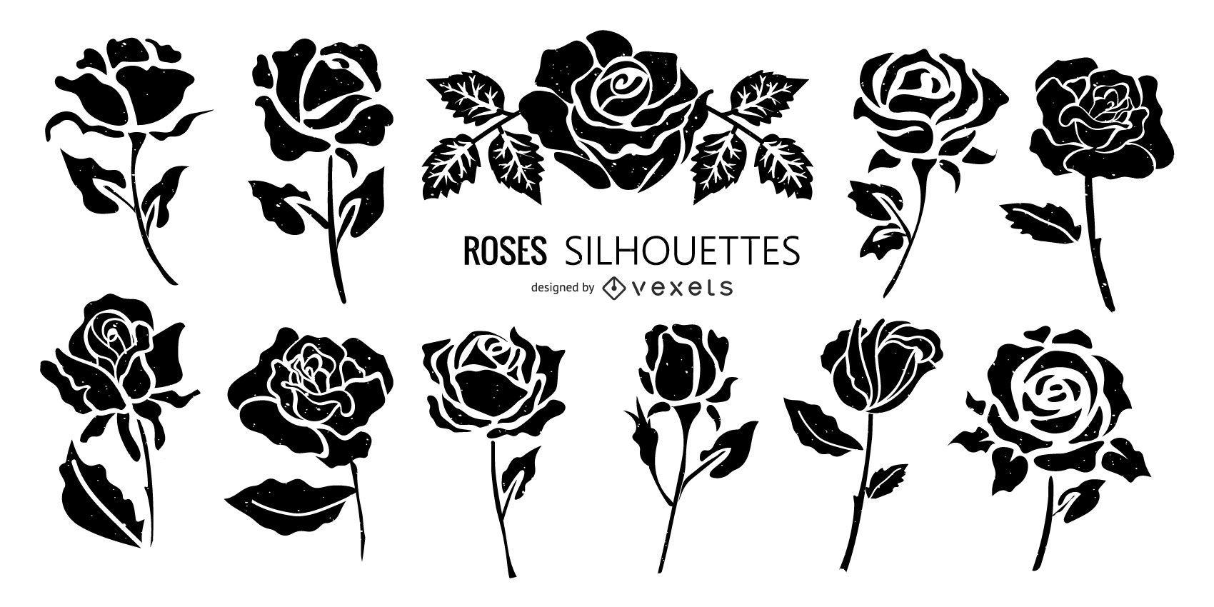 Rose Silhouette Flower Set
