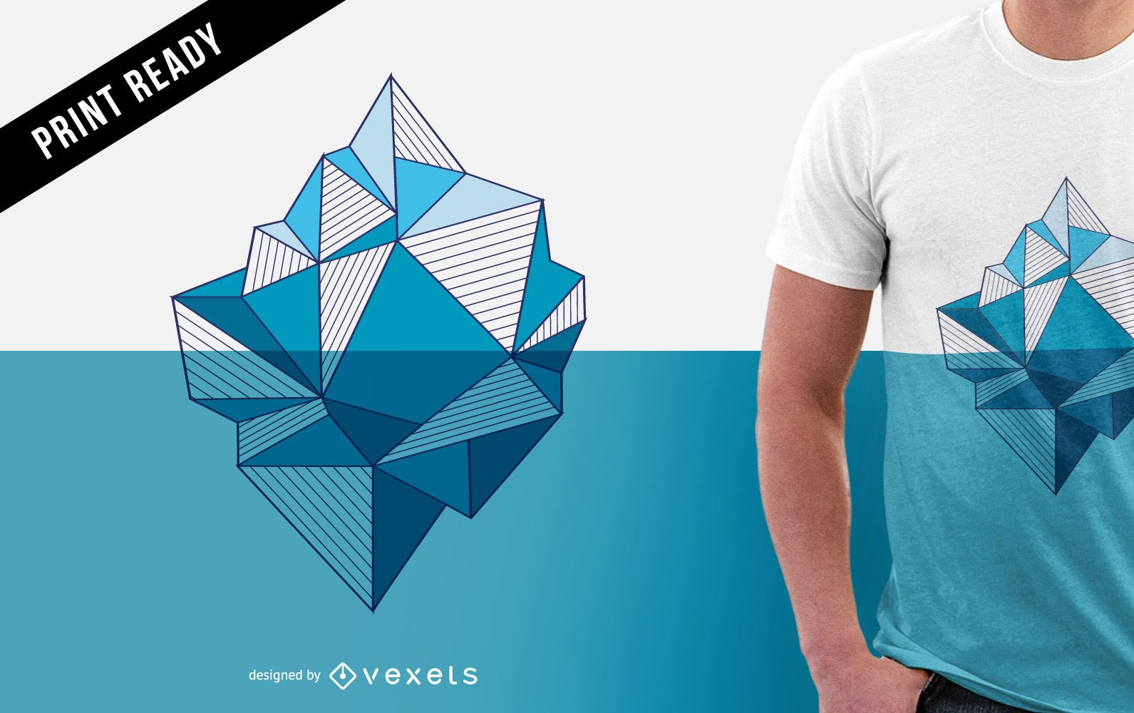 Iceberg illustration for t-shirt design