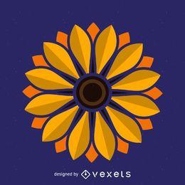 Ilustración de girasol minimalista