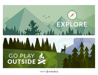 2 banners de ilustração de floresta ao ar livre ou quadros