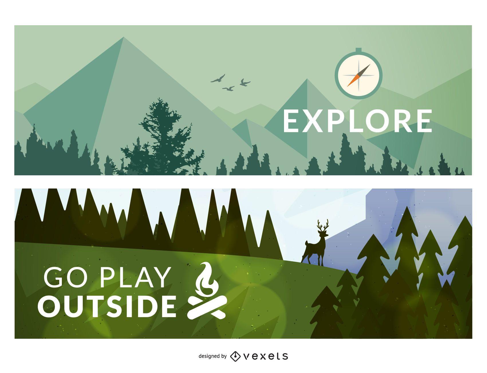 2 carteles o marcos de ilustración de bosque al aire libre