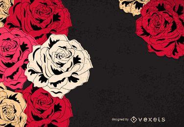 Frame ilustrado de rosas vintage