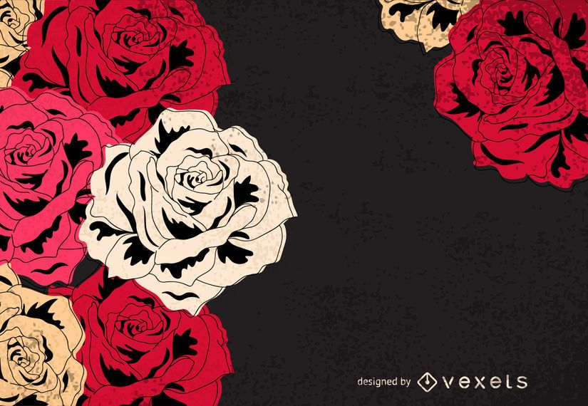 Rosas vintage ilustradas frame