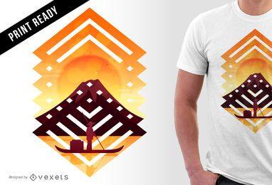 Diseño de camiseta asiática de paisaje