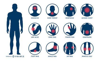 Conjunto de ilustración de dolor de cuerpo